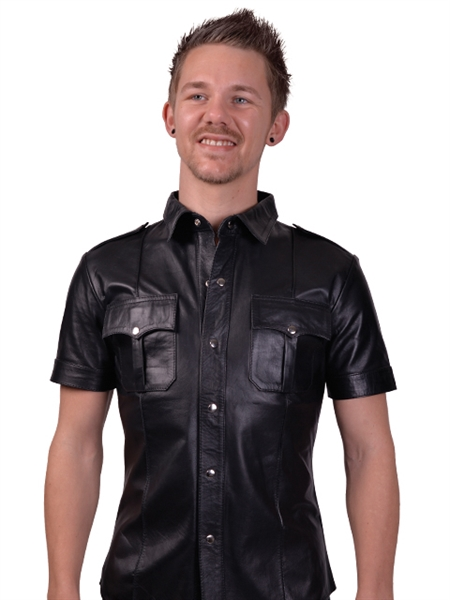 Mister B Sheep Leather Police Shirt Black XXL